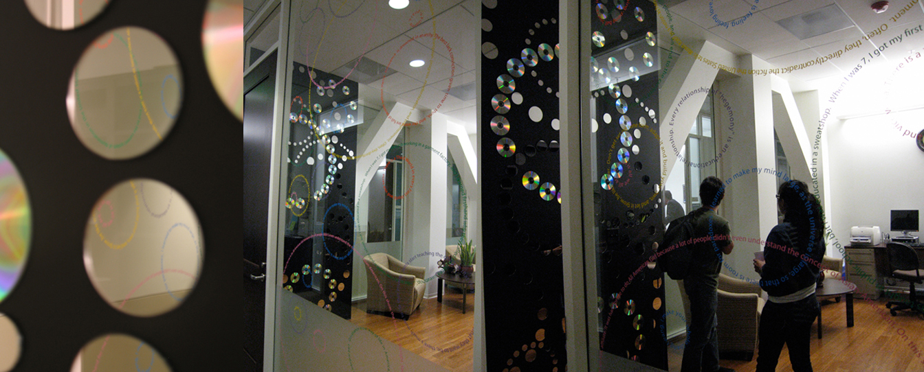 Insight, public commission opened in October 2009, 2 part installation: window with vinyl, wall with CD's mirrors, Intercollegiate Department of Asian American Studies, Claremont Colleges, Claremont, CA.